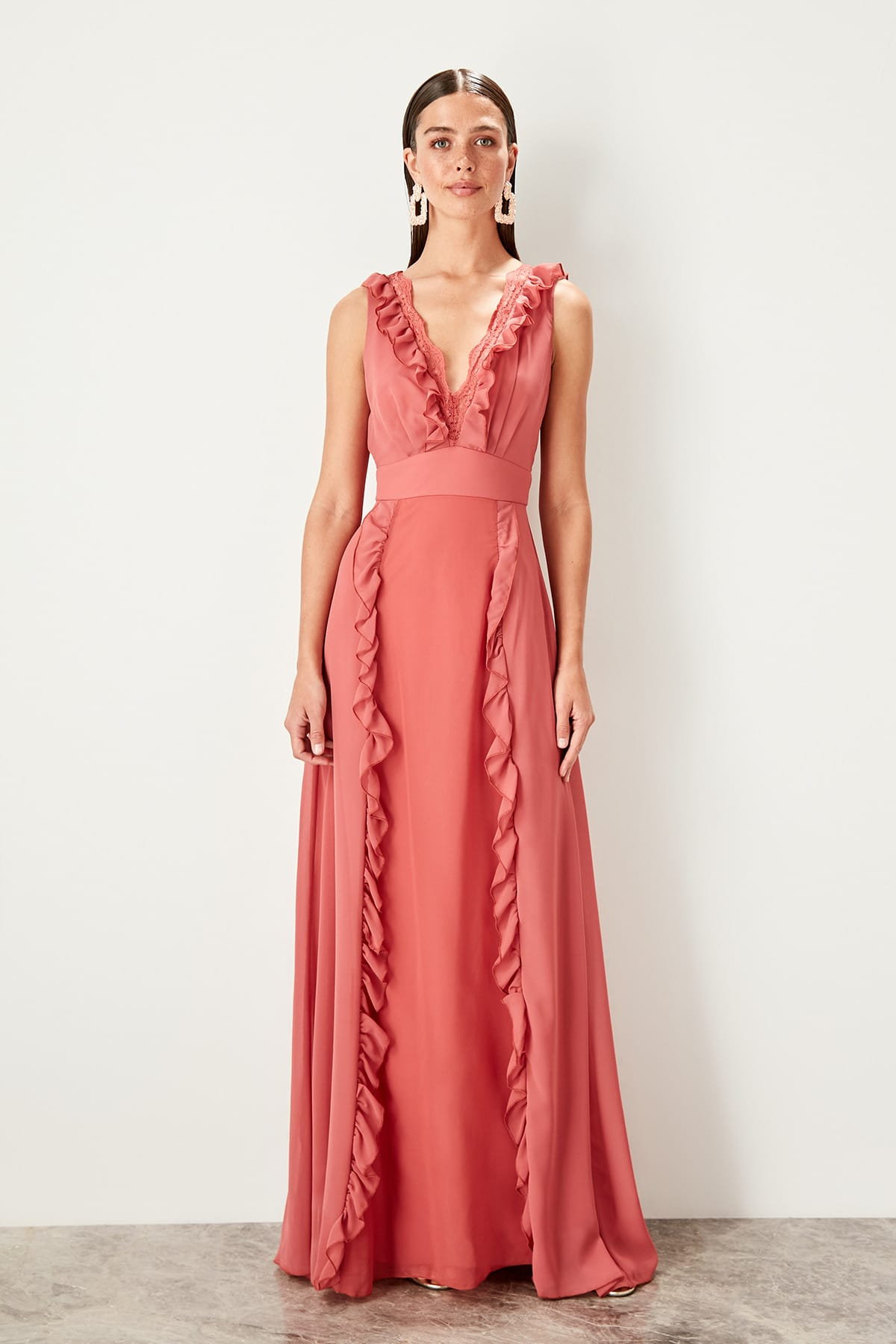 Trendyol Ruffle Detail Evening Dress TPRSS19UZ0063