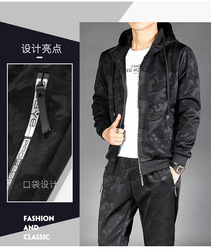 Hottest! 2019 Autumn Fashion Men's Casual Clothing Set Printed Hooded Clothing Set For Men 2 Colors Size L to 4XL J9541-529T-E