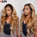 Парик с Омбре AliLee Honey блонд 1B/27, парики из человеческих волос на сетке спереди, волнистые перуанские предварительно выщипанные прозрачные пе...