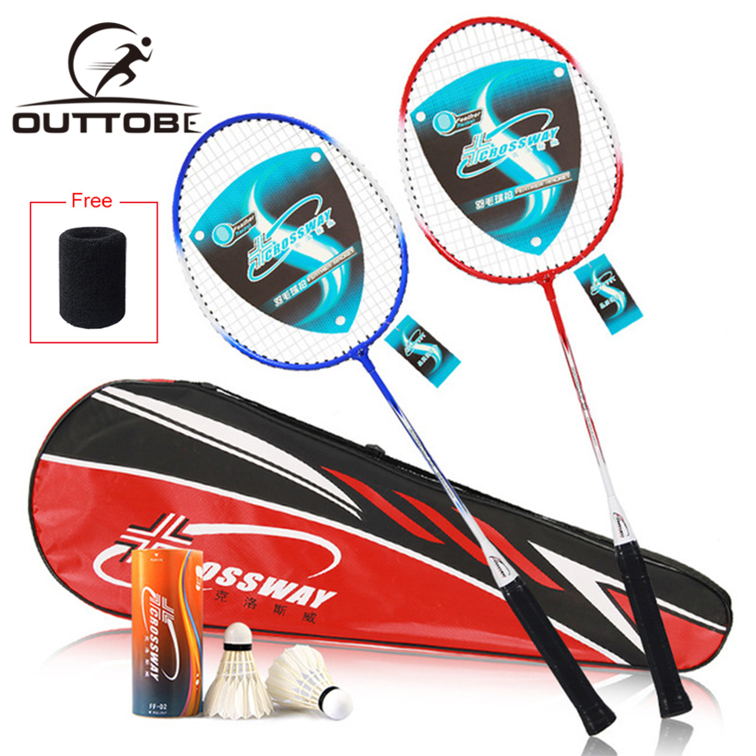Outtobe 2PCS Badminton Racket Set-Professional Carbon Fiber Badminton Racket Full Cover High Tension Racquets With 2 Shuttlecock