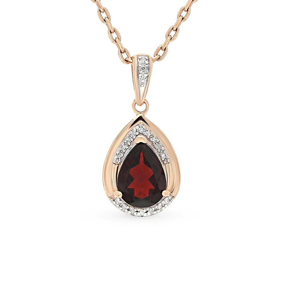 Gold Pendant With Garnet And Diamond SUNLIGHT Test 585