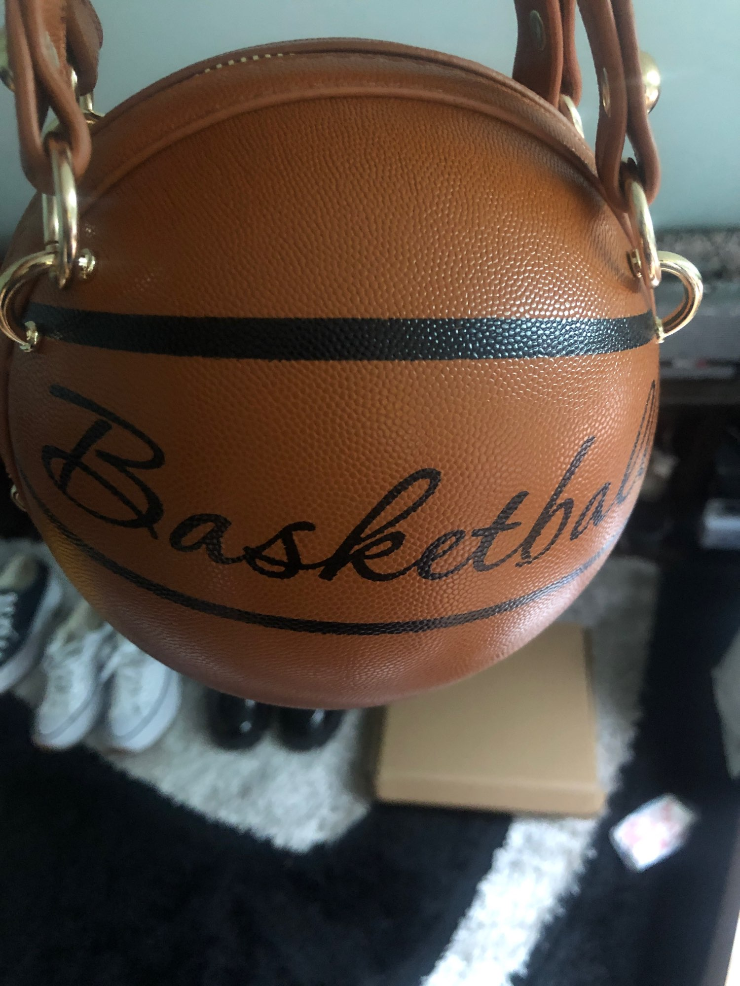 1Pcs Ball Purses For Teenagers Women Shoulder Bags Crossbody Chain Hand Bags Personality Female Leather Pink Basketball Bag photo review