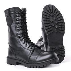 Botas militares planas DOF demisason de cuero genuino con cordones y cremallera negro ejército botas de tobillo Rusia 5004/1 WA