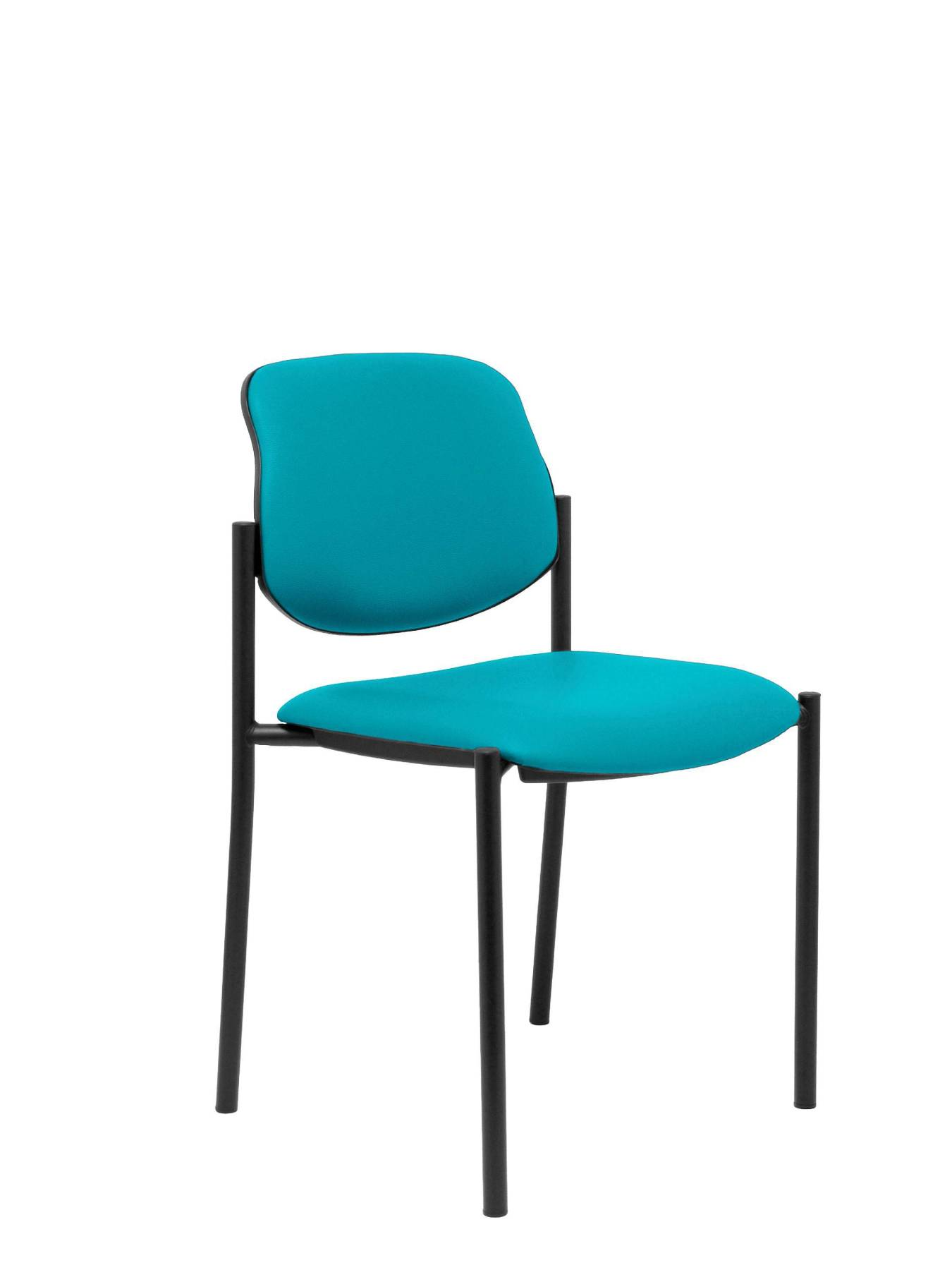 Visitor Chair 4's Topsy And Estructrua Negro-up Seat And Backstop Upholstered In Tissue Similpiel Green Color TAPHOLE AND