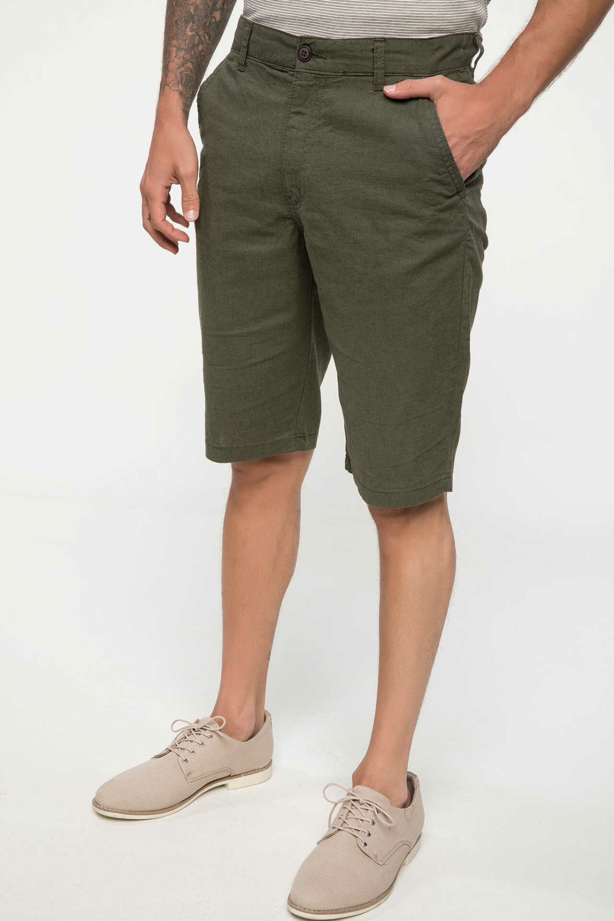 DeFacto Man Summer Straight Shorts Men Casual Army Green Bermuda Shorts Men Mid-Waist Bottoms-I7564AZ18SM