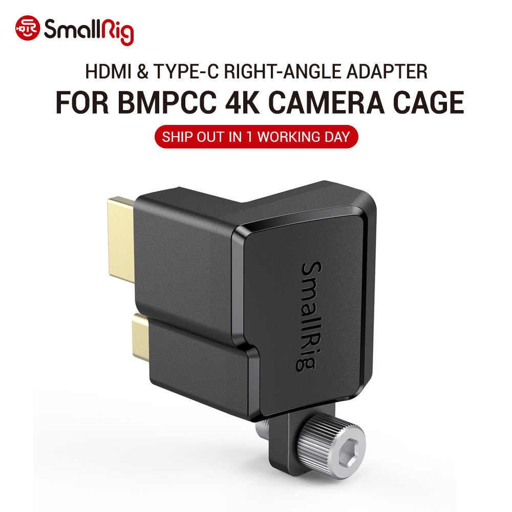 Smallrig Hdmi & Type-C Haakse Adapter Voor Bmpcc 4K Camera Kooi Dslr Camera Rig Hdmi klem Voor Bmpcc 4K Camera 2700