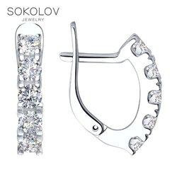 Sokolov Zilveren Oorbellen Met Stenen Met Stenen Met Zirconia Mode-sieraden Zilver 925 Vrouwen/Mannen, man/Vrouw