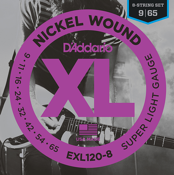 Exl120-8 Nickel Wound String Kit For 8-string Electric Guitar, Super Light, 9-65, D'Addario