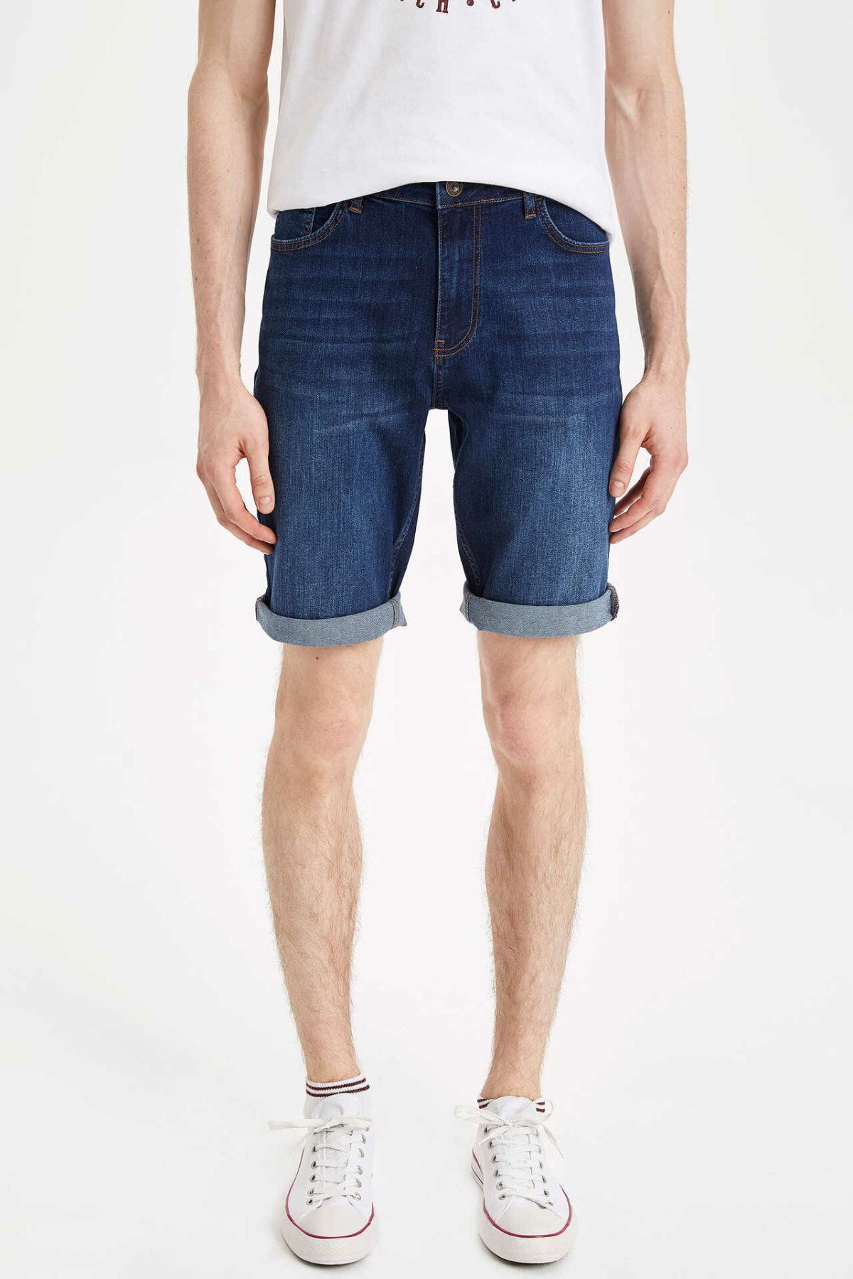 DeFacto New Man Fashion Short Jeans Male Casual Comfort Shorts High Quality Men's Loose Pure Color Denim Shorts -L0197AZ19SM