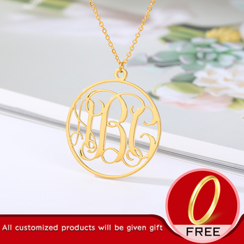 Personalized necklace Stainless steel customized nameplate jewelry Mom gift Necklace for Women Gift for Mom Gift Round Necklace image