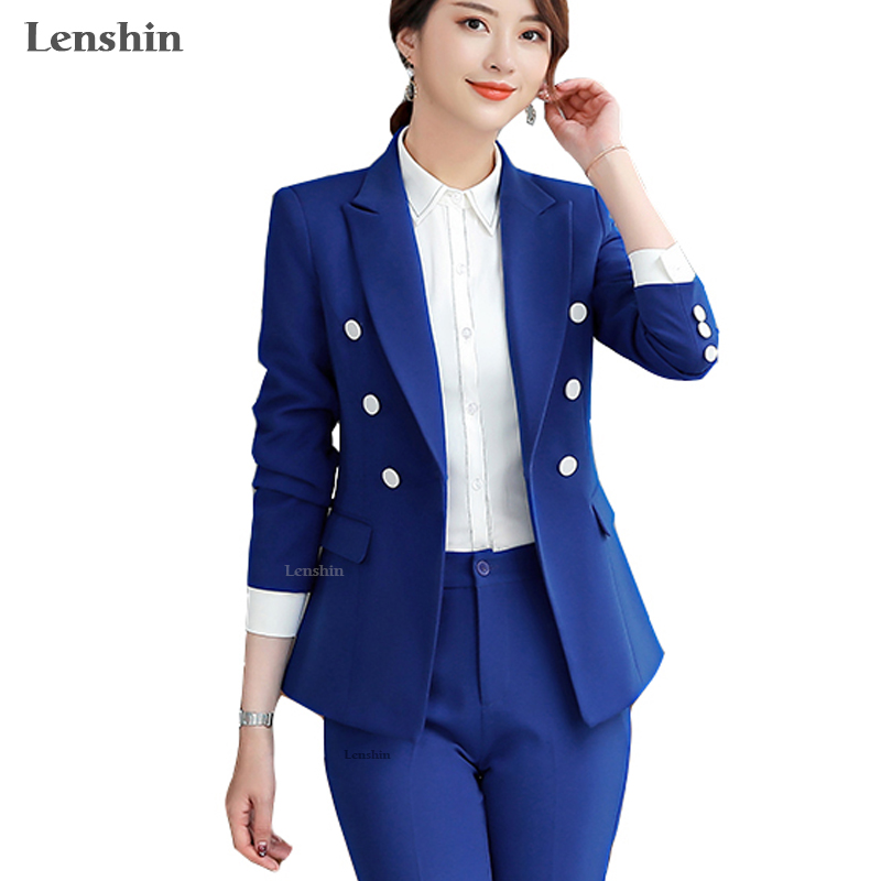 Lenshin High Quality 2 Piece Set Formal Pant Suit Blazer Office Lady Designs Women Soft Jacket And Ankle-Length Trousers