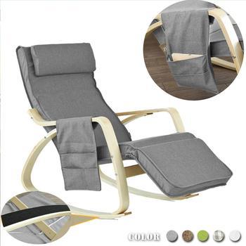 SoBuy krzesło relaksacyjne fotel bujany z regulowany podnóżek torba boczna FST18-DG tanie i dobre opinie CN (pochodzenie) Meble do salonu Szezlong Meble do domu