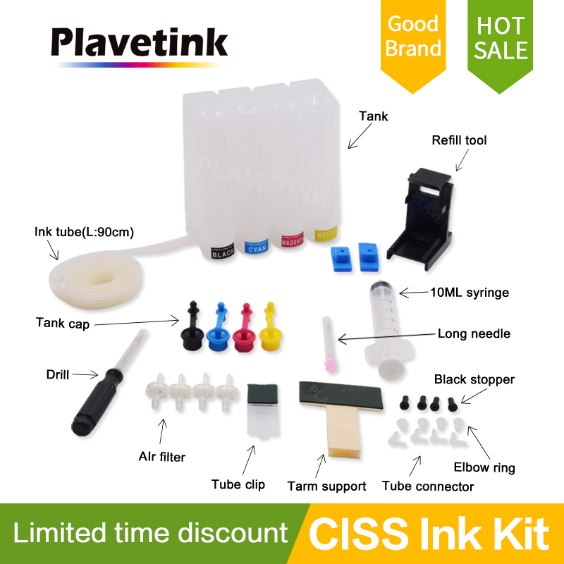 Plavetink Ciss For Canon Continuous Ink Printer For HP Ciss <font><b>Bulk</b></font> Diy Tank Continuous System 4 Color Cartridge and Ink Tube Drill image