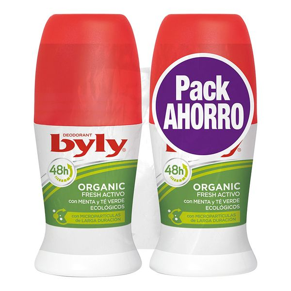 Roll-On Deodorant Organic Extra Fresh Activo Byly (2 Uds)