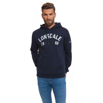Lonsdale man hoodie inside flocked color Dark Blue stamping on the chest and sleeve logo (17606) цена 2017