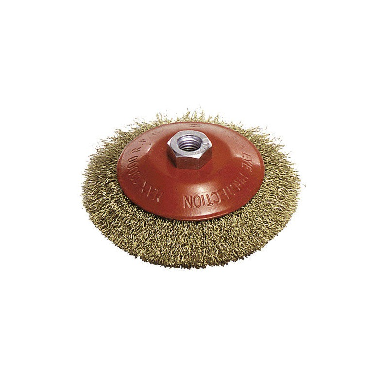 Steel Brush M14 Brass Plated Oblique 100x10mm.
