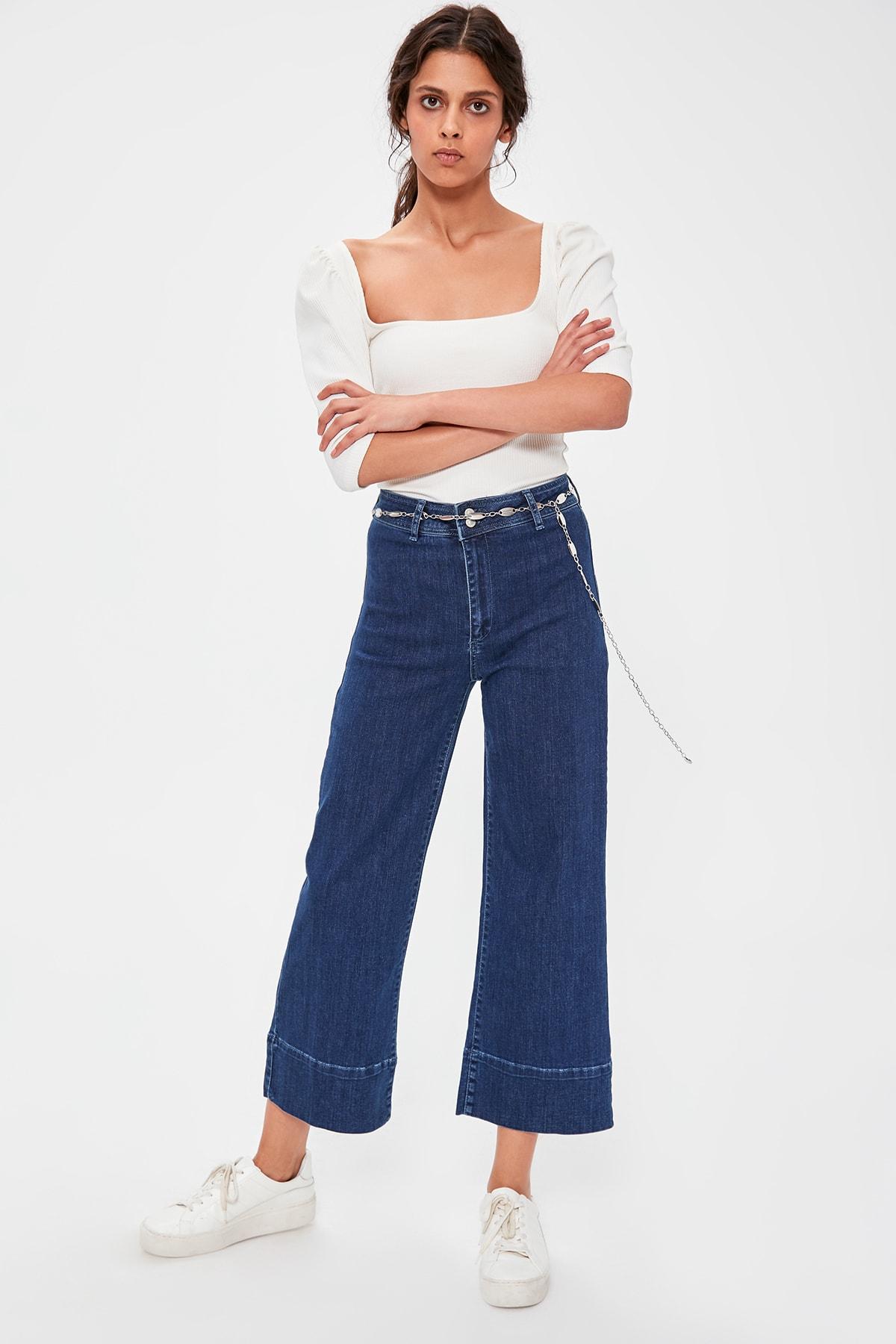 Trendyol Blue Stitch Detail High Waist Culotte Jeans TWOAW20JE0172