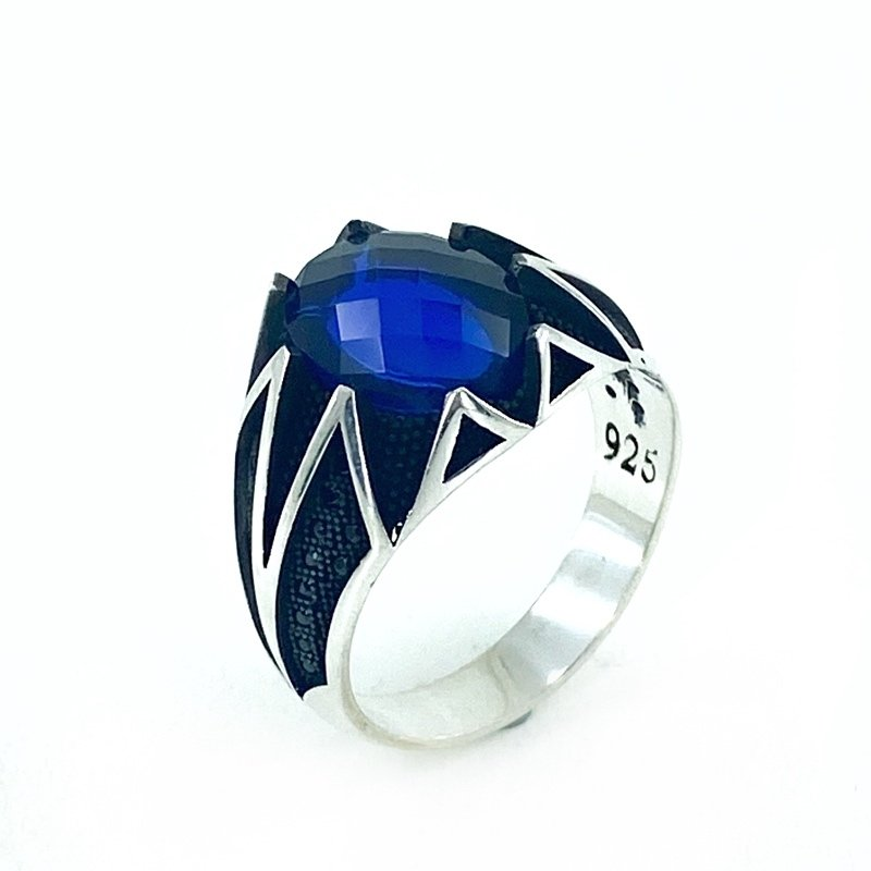 Sapphire Stone Top Quality Stylish Silver Mens Ring