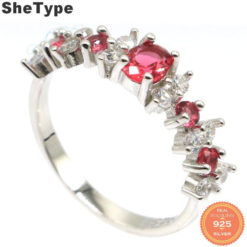 7x5mm 2019 Simple Style 2.1g Created Pink Raspberry Rhodolite Garnet CZ Gift For Girls 925 Solid Sterling Silver Rings