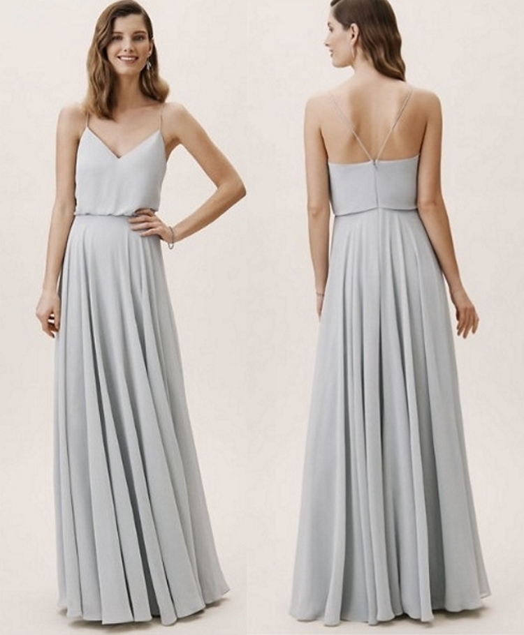 Pleats Pale Grey Spaghetti Straps Backless Chiffon Bridesmaid Dress