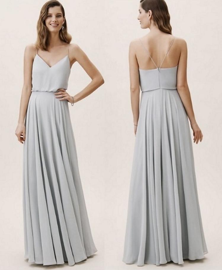Pleats Pale Grey Spaghetti Straps Backless Chiffon Bridesmaid Dress