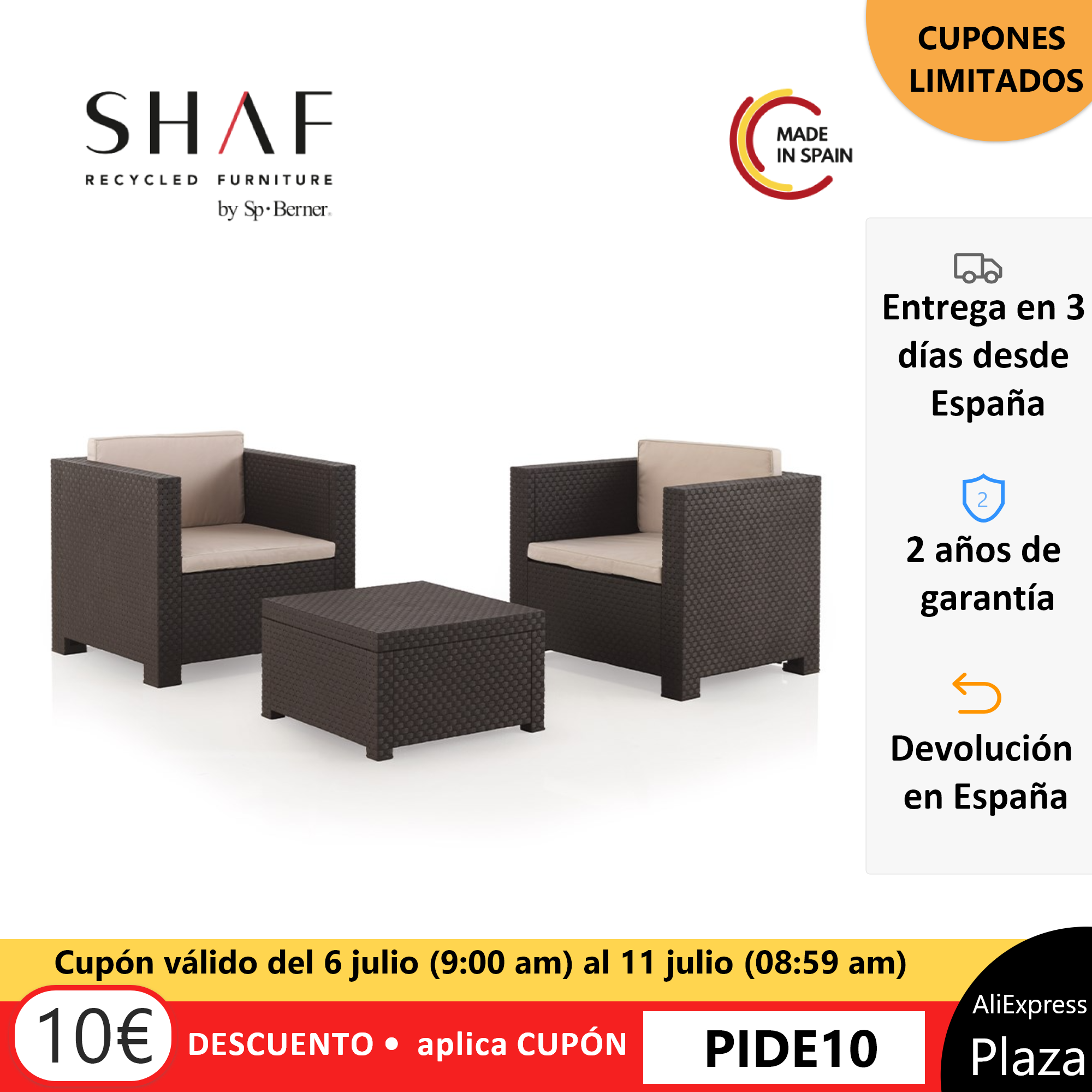SHAF - Set rattan garden Tête a Tête DIVA-Set ideal for garden, terrace or any outside, in two colors available