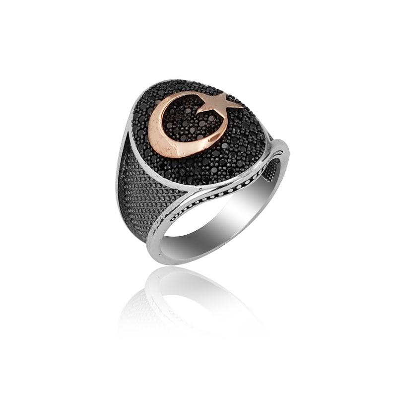 925 Silver Ottoman Moon Star Resurrection Ertugrul Kayi Ring for Men Man Rings