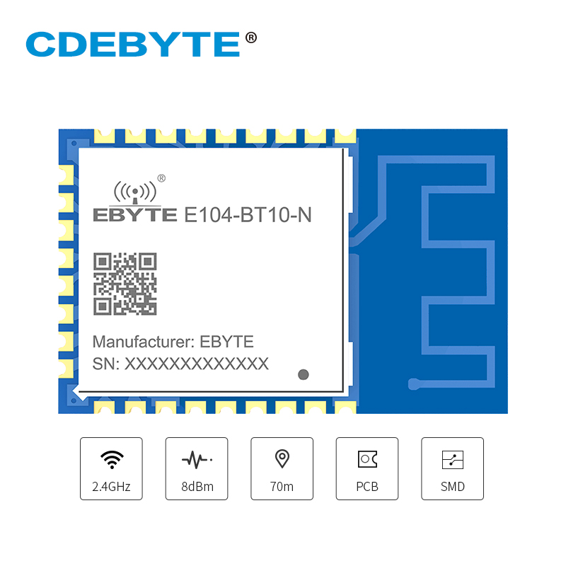 TLSR8269 Node Transceiver 2.4GHz Sigmesh BLE4.2 UART GFSK E104-BT10-N 8dbm PCB Antenna SMD Wireless Bluetooth Modlue