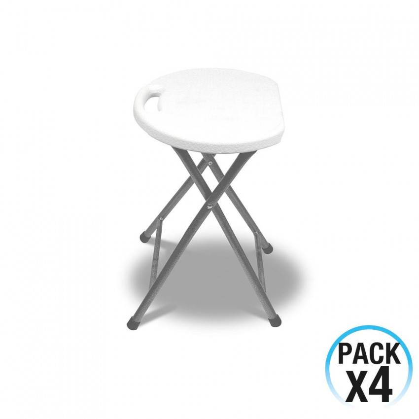 Pack 4 Folding Stools Resin White And Steel 31x45cm