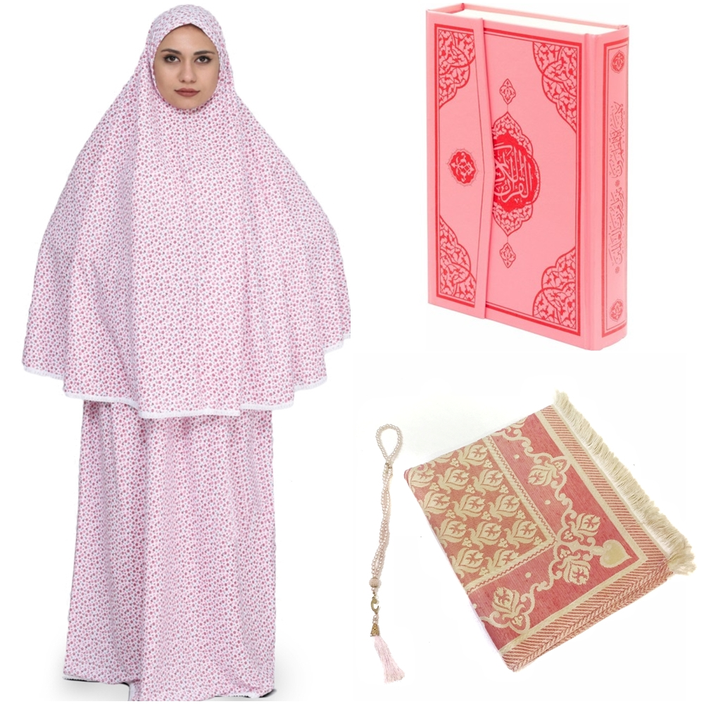 Muslim Prayer Set Full Cover Prayer Dress Holy Quran Prayer Beads , Rug Sijadat Sala Islamic Turkish Female Ramadan Eid Reis