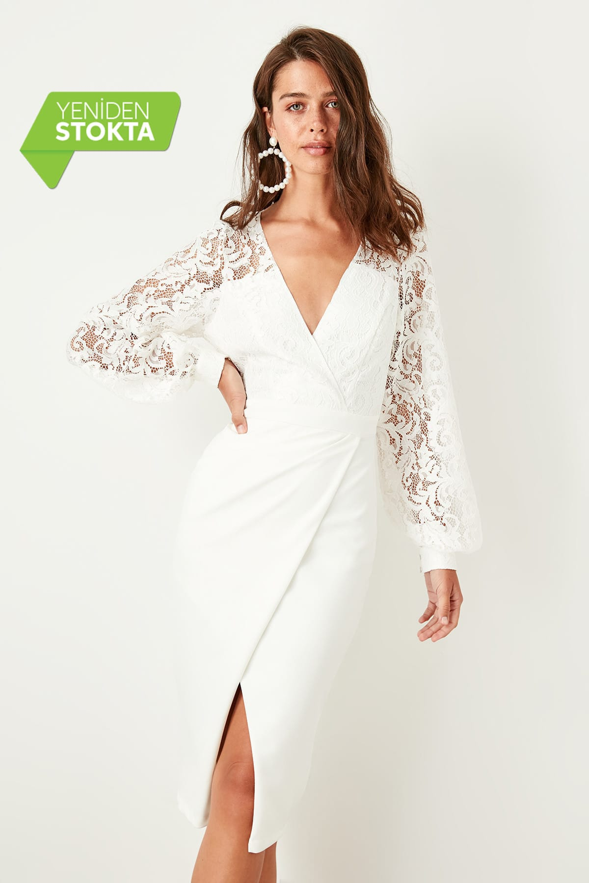 Trendyol Lace Detail Wraped Dress TPRSS19FZ0271