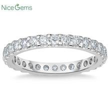 NiceGems, Платиновое кольцо вечности, Круглый, блестящий, 1,00 ctw, Муассанит, обручальное кольцо, кольцо вечности, обручальное кольцо VVS1