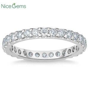 Image 1 - NiceGems 14k białe złoto wieczność zespół okrągły Brilliant 1.00 ctw Moissanite obrączka Pave pierścień wieczności obrączka VVS1