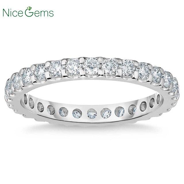NiceGems 14k białe złoto wieczność zespół okrągły Brilliant 1.00 ctw Moissanite obrączka Pave pierścień wieczności obrączka VVS1
