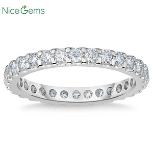 Image 1 - NiceGems Platinum Eternity Band Round Brilliant 1.00 ctw Moissanite Wedding Ring Pave Eternity Ring wedding band VVS1