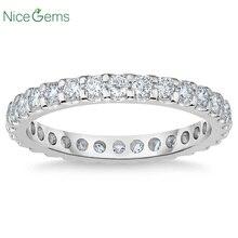 NiceGems Platinum Eternity Band redondo brillante 1,00 ctw molissanite anillo de boda pavé eternidad anillo de boda VVS1
