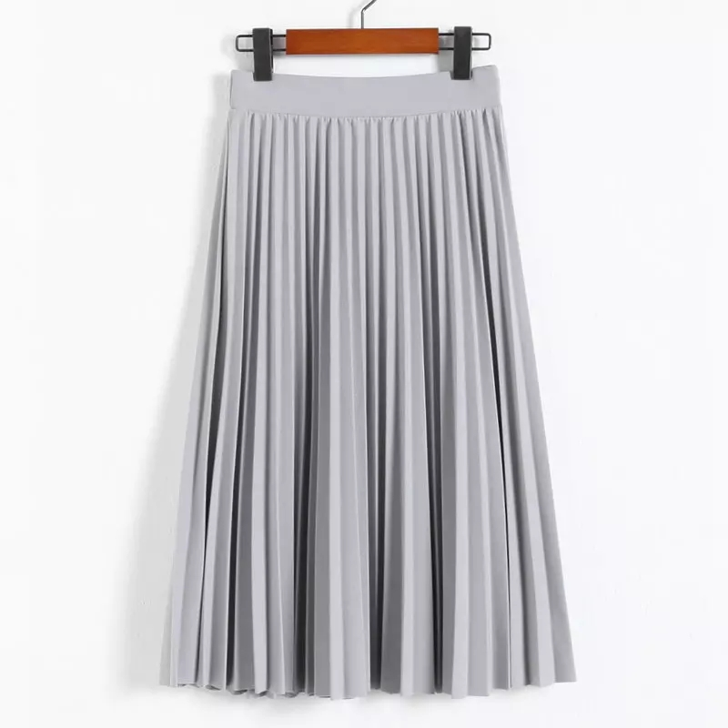 Spring and Autumn New Fashion Women's High Waist Pleated Solid Color Half Length Elastic Skirt Promotions Lady Black Pink|Skirts|   - AliExpress