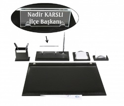 EMET черный кожаный стол набор стол Pad набор с кристаллом табличка имя табличка тег