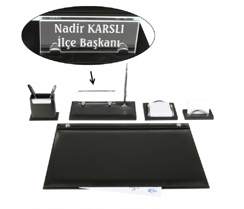 EMET Black Leather Desk Set Desk Pad Set With  Crystal Nameplate Name Plate Tag