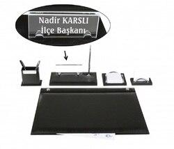 EMET Black Leather Desk Set Desk Pad Set with  Crystal Nameplate Name Plate Tag