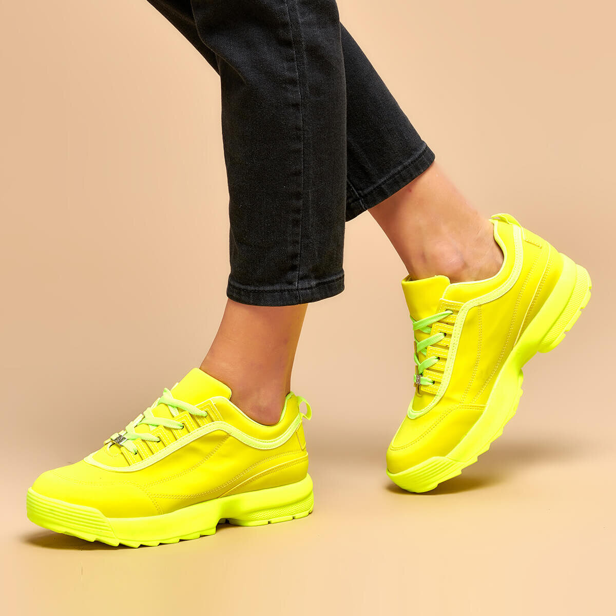 FLO Neon Yellow Women Sneaker Women Chunky Sneakers Platform Ladies Casual Vulcanize Shoes Celebrity Dad Female Fashion Sneakers Designer BUTIGO 19K-950