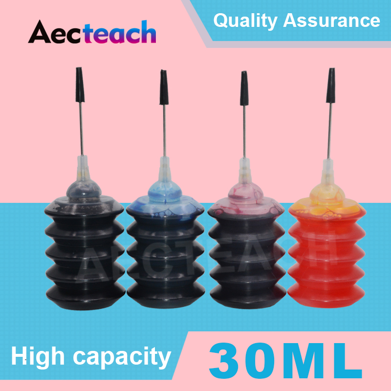 Aecteach Ink <font><b>Refill</b></font> <font><b>Kit</b></font> 30ml Bottle For <font><b>HP</b></font> 123 122 121 302 304 301 300 650 <font><b>652</b></font> 21 22 140 141 901 350 351XL Printer Ink Cartridge image