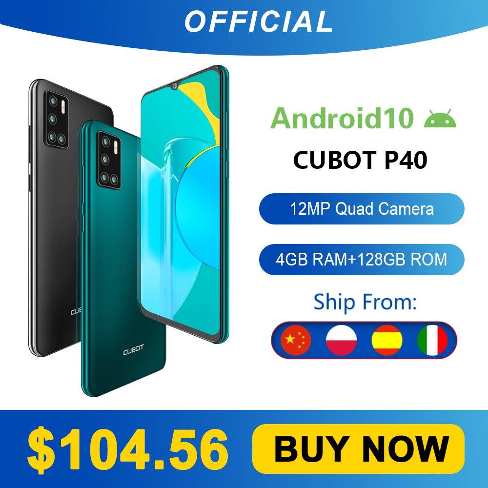 Cubot P40 Achter Quad Camera 20MP Selfie Smartphone Nfc 4 Gb + 128 Gb 6.2 Inch 4200 Mah Android 10 dual Sim-kaart Mobiele Telefoon 4G Lte