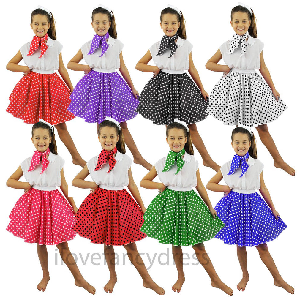 Kids Black Rock N Roll Skirt /& Scarf Fancy Dress Costume Dance 1950s Polka Dot