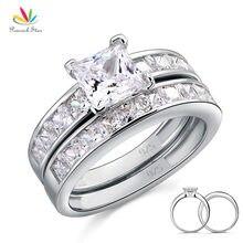 Conjunto de anillo de compromiso de boda, sólida plata 925 de estrella de pavo real, 2 uds., 1 Ct, joyería de corte de princesa CFR8020