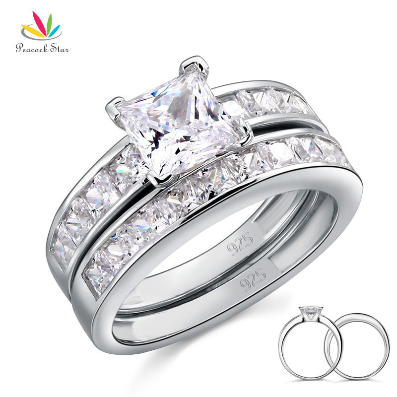 Peacock Star Solid 925 Sterling Silver 2 Pcs Wedding Engagement Ring Set 1 Ct Princess Cut Jewelry CFR8020-in Engagement Rings from Jewelry & Accessories