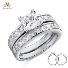 Peacock Star Solid 925 Sterling Silver 2 Pcs Wedding Engagement Ring Set 1 Ct Princess Cut Jewelry CFR8020