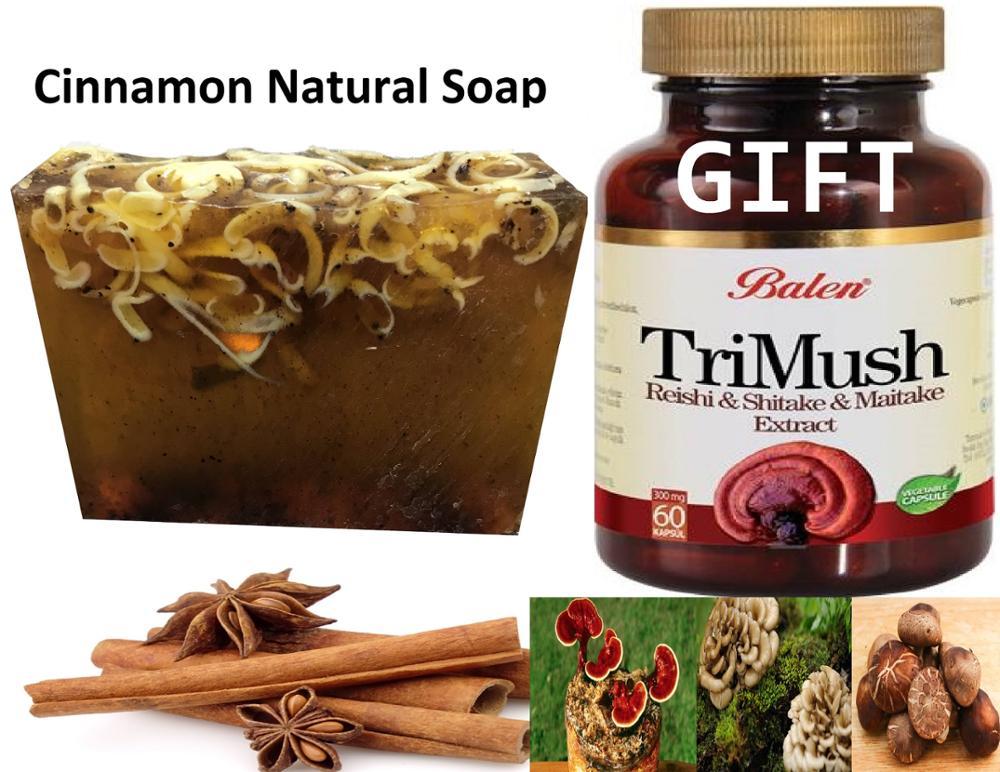 Anti Acne Cinnamon Natural Handmade Soaps 100 Gr+ Gift Trimush Reishi & Shiitake & Maitake Mushroom Extract 60 Capsules