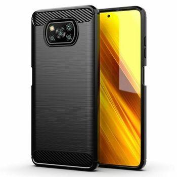 "Case Cover Gel TPU Silicone Black Carbon Fiber For Xiaomi Poco X3 NFC (4G) 6.67 ""+ optional Protector"