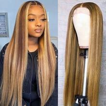 Evidenzia parrucca capelli umani Glueless parrucca anteriore in pizzo dritto osso parrucche diritte per capelli umani per donna Rmey T parte parrucca colore #4/27